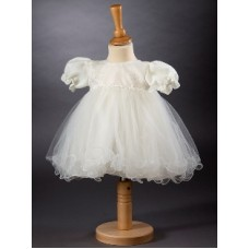 CH377 - A Pretty Short Dress With Sparkle Organza: Ideal for Baptism/Christening. You are welcome to visit Clothes Line shop SW London SW20 9NQ for Christening Cards, Gifts, Shawls and Party items