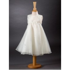 CH381 - An A-line Dress Overlayed With Sparkle Organza: Ideal for Baptism/Christening. You are welcome to visit Clothes Line shop SW London SW20 9NQ for Christening Cards, Gifts, Shawls and Party items