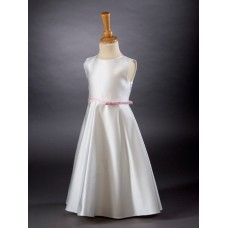 CH383 - A Satin A-line Dress Contrast Sash: Ideal for Baptism/Christening. You are welcome to visit Clothes Line shop SW London SW20 9NQ for Christening Cards, Gifts, Shawls and Party items