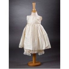 CH386 - A Short Pure Silk Sleeveless Dress: Ideal for Baptism/Christening. You are welcome to visit Clothes Line shop SW London SW20 9NQ for Christening Cards, Gifts, Shawls and Party items