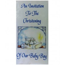 CH566 - Christening Invitation: You are welcome to visit Clothes Line shop SW London SW20 9NQ