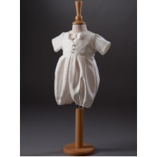 CH851 - Boys Dupion Romper Suit: Ideal for Baptism/Christening. You are welcome to visit Clothes Line shop SW London SW20 9NQ for Christening Cards, Gifts, Shawls and Party items