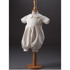 CH853 - Boys Dupion Romper Suit: Ideal for Baptism/Christening. You are welcome to visit Clothes Line shop SW London SW20 9NQ for Christening Cards, Gifts, Shawls and Party items