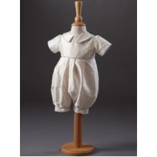 CH854 - Boys Pure Silk Romper: Ideal for Baptism/Christening. You are welcome to visit Clothes Line shop SW London SW20 9NQ for Christening Cards, Gifts, Shawls and Party items