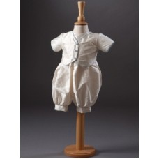 CH855 - Boys Pure Silk Romper: Ideal for Baptism/Christening. You are welcome to visit Clothes Line shop SW London SW20 9NQ for Christening Cards, Gifts, Shawls and Party items