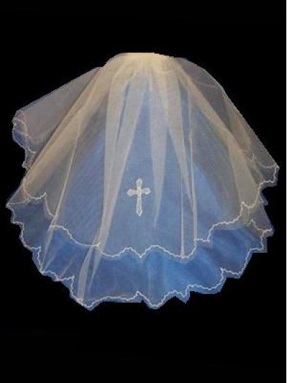 A 20 inch Layered Veil in White For First Holy Communion...