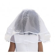 Beautiful Two Layed First Communion Veil with Satin edging and a diamante Cross