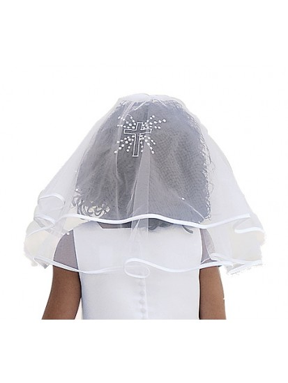 Beautiful Two Layed First Communion Veil with Satin edging and a diamante C...
