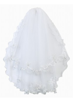 Two Layed First Holy Communion Veil with Satin edging and lovely bead droplets