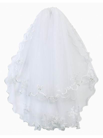 Two Layed First Holy Communion Veil with Satin edging and lovely bead dropl...