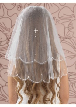 Pearl & Diamante Cross Embroidered First Communion Veil