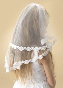 """Two tier white tulle Holy Communion veil with a beautiful flower lace edge decorated with small clusters of pearl. Available in standard 36""""."""