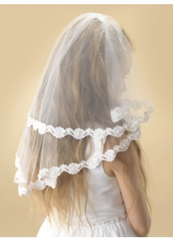 "Two tier white tulle Holy Communion veil with a beautiful flower lace edge decorated with small clusters of pearl. Available in standard 36""."