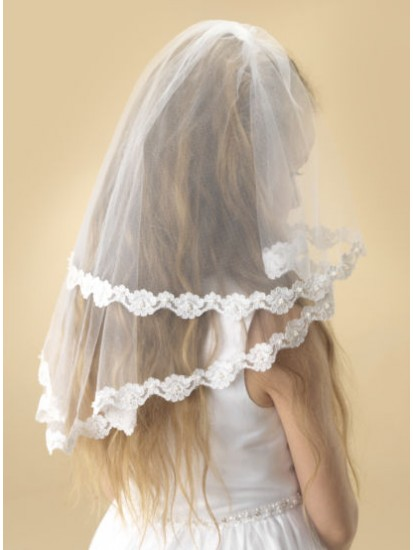 Two tier white tulle Holy Communion veil with a beautiful flower lace edge ...