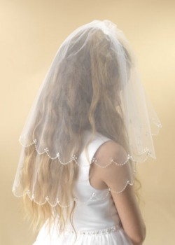 A two tier white tulle scalloped edge Holy Communion Veil for your choice of Communion Dress