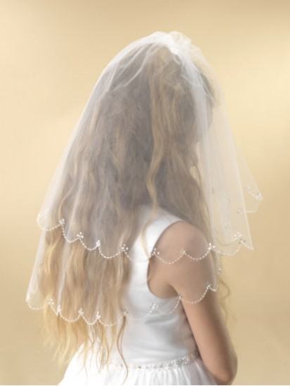 A two tier white tulle scalloped edge Holy Communion Veil for your choice o...