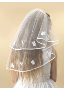 A beautiful two tier white tulle Holy Communion veil with a thin ribbon edge decorated with white embroidered flowers finished with small white pearls.