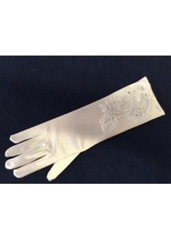 White satin Holy Communion gloves with organza and lace cut out finished with sparkly sequins