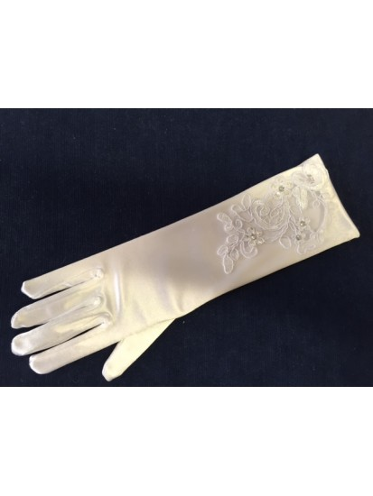 White satin Holy Communion gloves with organza and lace cut out finished wi...