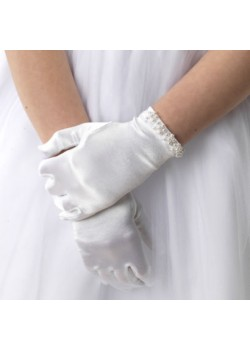 White satin First Communion gloves with ivory pearl trim