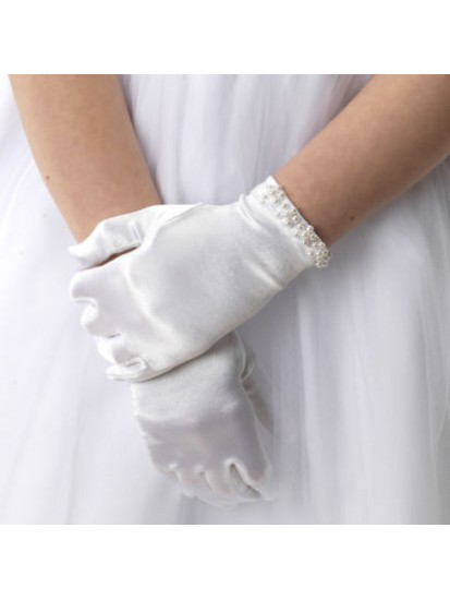 White satin First Communion gloves with ivory pearl trim...