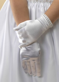 White satin First Holy Communion gloves with a silver sparkly diamante trim