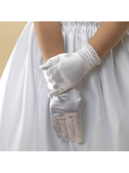 White satin First Holy Communion gloves with a silver sparkly diamante trim...