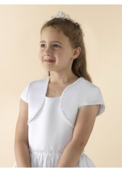 Capped sleeve white satin Holy Communion jacket decorated with a beaded edge