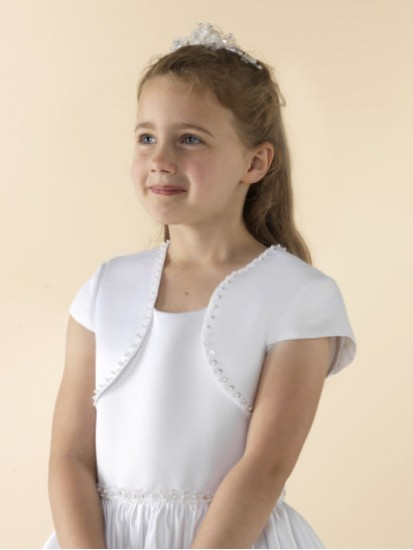Capped sleeve white satin Holy Communion jacket decorated with a beaded edg...