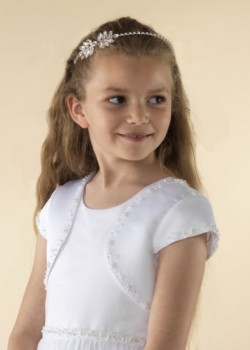 Capped sleeve white satin Holy Communion jacket decorated with small clusters of pearls