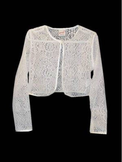 Cotton Lace Bolero with Satin Trim Ideal For First Holy Communion...