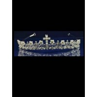 Silver Tiara with Cross Detail and Cross Necklace Ideal For Communion
