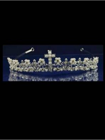 Silver Tiara with Cross Detail and Cross Necklace Ideal For Holy Communion...