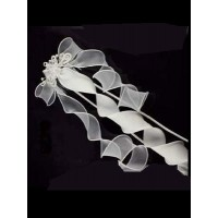 Tiara with bow on comb with pearl details and long ribbon trail Ideal For Communion