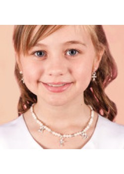 Pearl & Cross Charms Jewellery Necklace Bracelet and Earring Set to add that special sparkle to the Holy Communion Outfit
