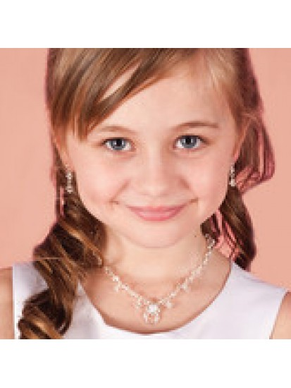 Child's Necklace Earrings & Bracelet Crystal Jewellery Set: For that specia...