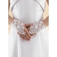 Beaded Lace Fingerless Gloves with ribbon tie