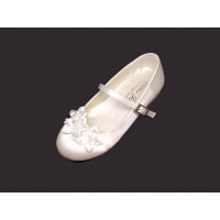 Pearl Ribbon Bow Satin Shoe With Low Heal