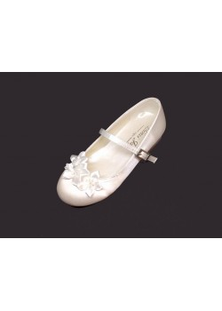 Pearl Ribbon Bow Satin Shoe With Low Heal for First Holy Communion