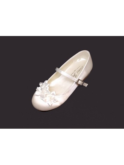 Pearl Ribbon Bow Satin Shoe With Low Heal for First Holy Communion...