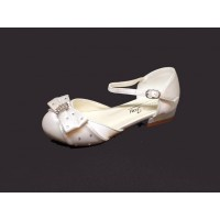 Diamante Bow Satin Childs Shoe with slight heal