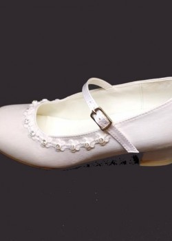 Diamante Satin Shoe with small heal and strap