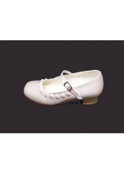 Diamante Satin Shoe with small heal and strap to match All First Communion Dresses
