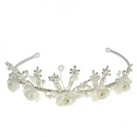 Satin Flower Pearl Diamante tiara