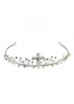 Pearl Tiara with Cross to Add That Special Sparkle to the First Communion Dress