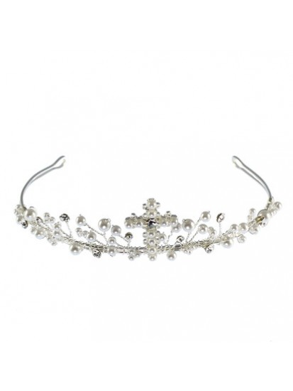 Pearl Tiara with Cross to Add That Special Sparkle to the First Communion D...