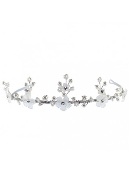 Matt Beaded Flower Tiara that will look really grand on the First Holy Comm...