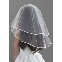 Satin Edge Scattered Pearl Veil 45""