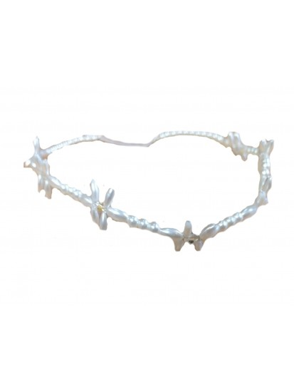 Pearl Flower Browband with Elastic for an 8 year old on her Holy Communion ...