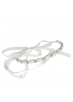 Diamante Headband with satin threaded ribbon: A unique look for First Holy Communion